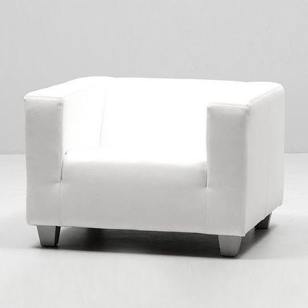 Lounge weiß, Fauteuil, Textilleder